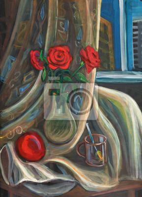 Obraz Bukiet róż w szklanym wazonie