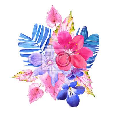 Bukiet z różowych i niebieskich realistycznych akwarela kwiaty.