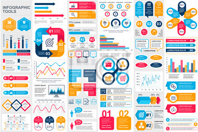 Obraz Bundle infographic elements data visualization vector design template. Can be used for steps, business processes, workflow, diagram, flowchart concept, timeline, marketing icons, info graphics.