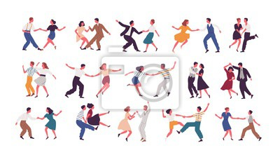 Obraz Bundle of pairs of dancers isolated on white background. Set of men and women dancing Lindy hop or Swing. Male and female cartoon characters performing dance at school or party. Vector illustration.