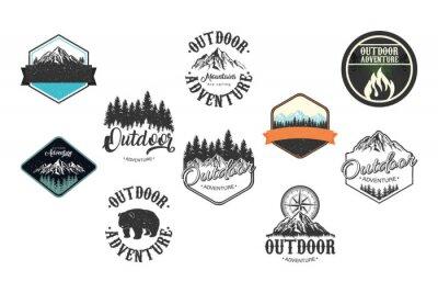Obraz bundle of ten outdoor adventure letterings emblems