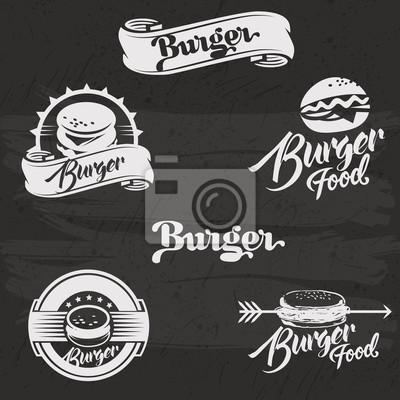 Burgers logo set in vintage style. Retro hand drawn burger