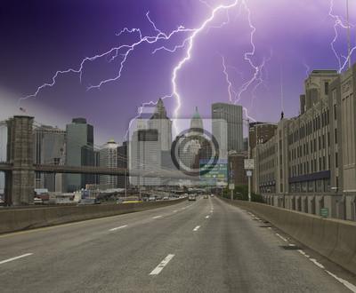 Burza nad Nowym Jorku Wieżowce