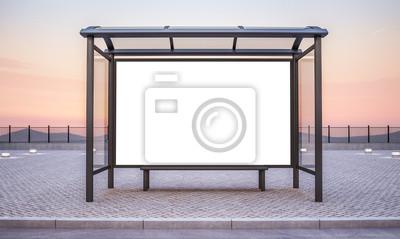 Obraz bus stop with big horizontal advertisement