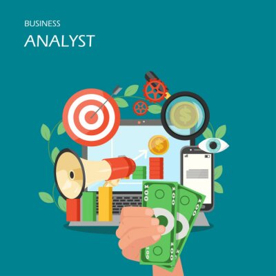 Business analyst vector flat style design illustration