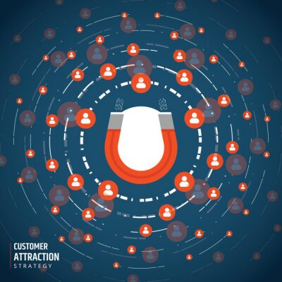 Business concept of attraction of the target