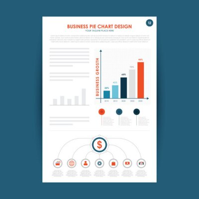 Business design elements for presentation slide templates. Can be used for financial report, workflow layout and brochure design.