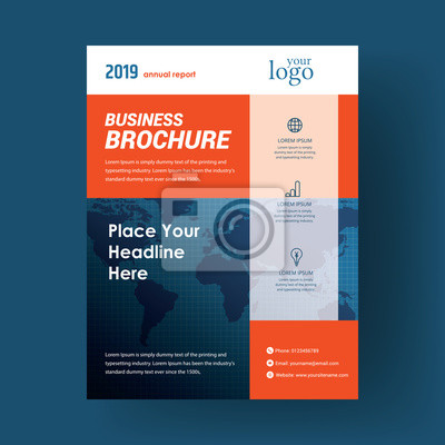 Business flyer brochure cover layout design template with blue color