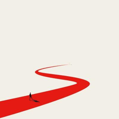Obraz Business goal or objective vector concept with businessman walking winding path. Symbol of ambition, motivation.