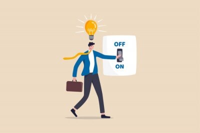 Obraz Business idea and solution to solve company problem or innovation and strategy to win business success concept, smart businessman turn on lightbulb switch to lit up idea.