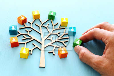 Obraz Business image of wooden tree with people icons over blue table, human resources and management concept