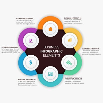 Business Infographic presentation template with 3, 4, 5, 6 options, parts, steps. Diagram, graph, round chart.