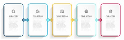 Obraz Business infographic process with thin line template design with icons and 5 options or steps. Vector illustration.
