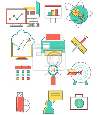 Business line icons set in flat design. Web elements linear