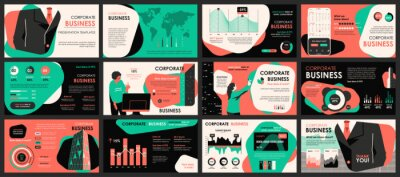 Obraz Business meeting presentation slides templates from infographic elements and vector illustration. Can be used for presentation teamwork, brochure, marketing, annual report, banner, booklet.