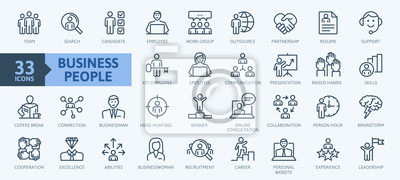 Obraz Business people, human resources, office management - thin line web icon set. Outline icons collection. Simple vector illustration.
