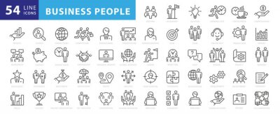 Obraz Business people, human resources, office management - thin line web icon set. Outline icons collection. Simple vector illustration