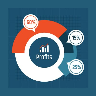 Business pie chart design, template for creating infographics