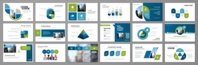 Obraz Business presentation infographic template set. Keynote presentation background, slide templates, website ideas, brochure cover design, landing page, annual report brochure. Vector Illustration