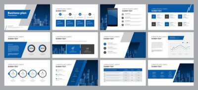 Obraz  business presentation template design backgrounds and page layout design for brochure, book, magazine, annual report and company profile, with info graphic elements graph design concept