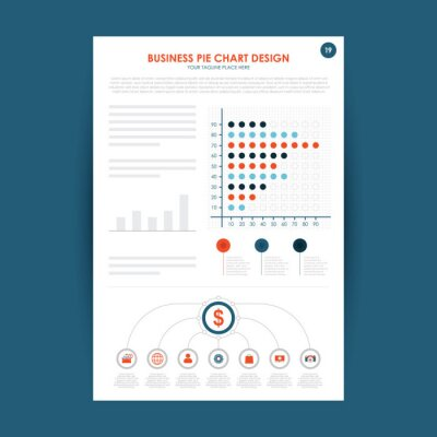 Business report, paper document. Isolated icon with long shadow. Charts graphs on a paper. Accounting, analysis, research, planning, audit, report, management. Vector