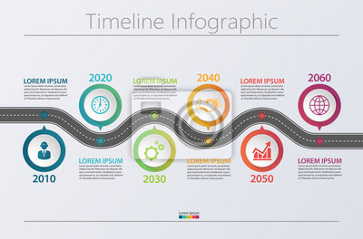 Obraz Business road map timeline infographic icons designed for abstract background template milestone element modern diagram process technology digital marketing data presentation chart Vector illustration