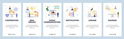Business services, online chat and communication, phone notification. Mobile app onboarding screens. Menu vector banner template for website and mobile development. Web site design flat illustration