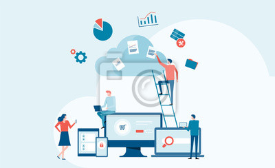 Obraz business technology cloud computing service concept and with developer team working concept