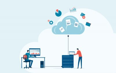 Obraz business technology storage cloud computing service concept with administrator and developer team working on cloud