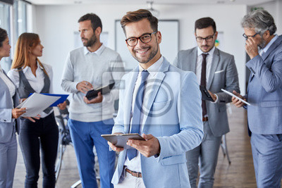 Obraz businessman office portrait corporate meeting tablet