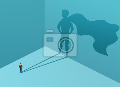 Obraz Businessman with shadow superhero. Super manager leader in business. Concept success, quality of leadership, trust. Vector illustration