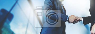 Obraz businessmen handshake - business meeting and partnership concept copy space