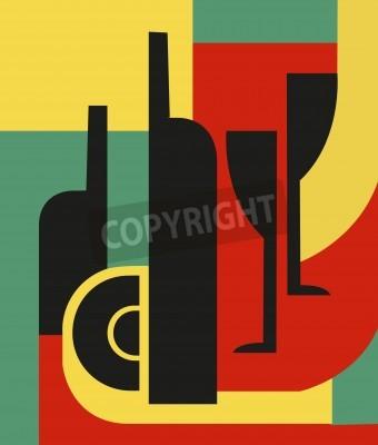 Obraz Butelka i kieliszek Kompozycja abstrakcyjna