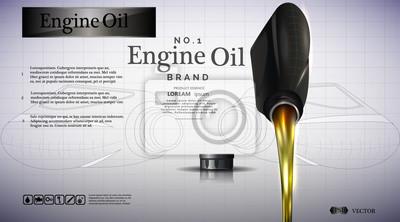 Butelka oleju silnikowego. Przepływy oleju