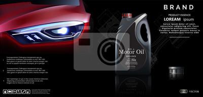 Butelka parowozowy olej przeciw tłu samochód. Wektorowa ilustracja EPS10