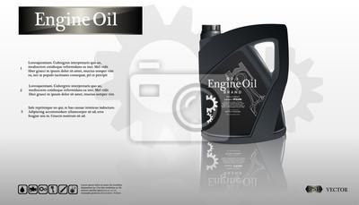 Butelka silnika olej na białym tle z przekładnią, czysty wektor. Realistyczny obraz 3D. szablon reklamy kanister z logo marki Blueprints. .EPS10