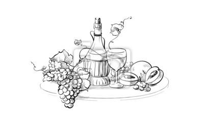 Obraz Butelka Wina I Szkło Martwa Natura Z Winogron Oddziału I