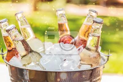 Obraz Butelki zimnego i świeżego piwa z lodem na białym tle