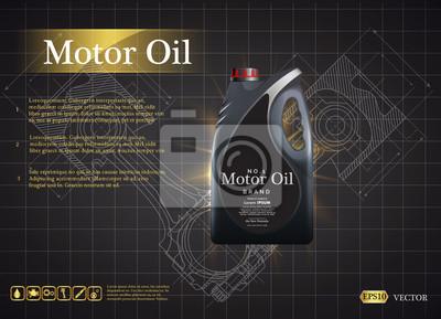 Butelkowy olej silnikowy na tle tłok silnika samochodowego, ilustracje techniczne. Realistyczny obraz 3D. szablon reklamy kanister z logo marki Blueprints. Rysunki inżynierii mechanicznej.