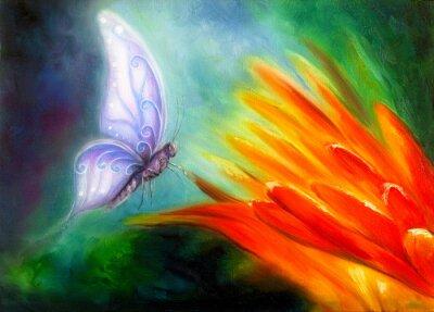 Obraz Butterfly flying towards an orange flower, beautiful detailed