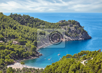 Cala Tuent cove beach seen from above, Mallorca, Spain.