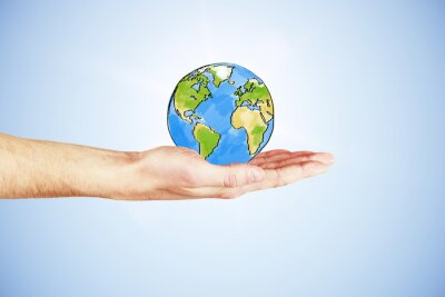 Obraz Cały świat w twojej dłoni koncepcji ręką i wyciągnąć z ziemi p