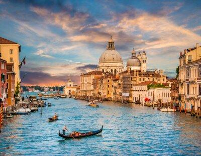 Obraz Canal Grande w Santa Maria della Salute na zachodzie słońca, Wenecja, Włochy