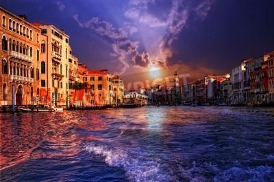 Obraz Canal Grande w Wenecji na zachodzie, Włochy