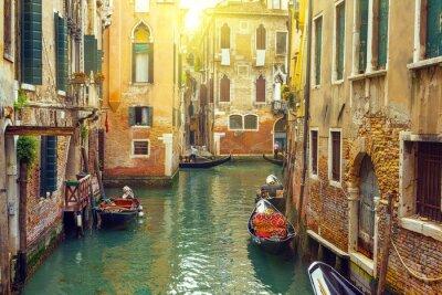 Obraz Canal with gondolas in Venice, Italy