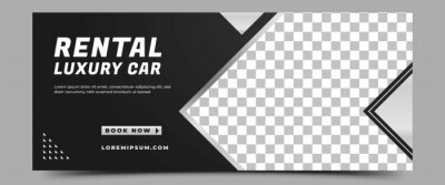 Obraz Car rental horizontal banner design template. Modern banner with place for the photo. Usable for banner, cover, header, and background.