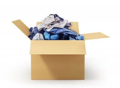 Obraz Cardboard box with clothes isolated on white background. Donation.