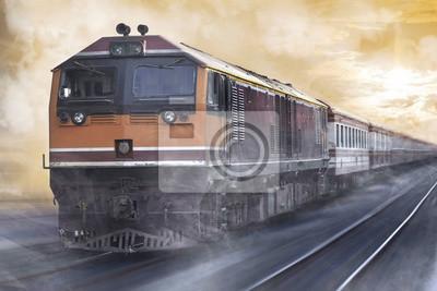 Cargo pociągu / Pociąg ładunku w ruchu na kolei.