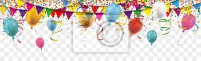 Obraz Carnival Confetti Balloons Ribbons Festoon Long Transparent Header