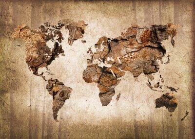 Obraz Carte du monde bois, zabytkowe tekstury